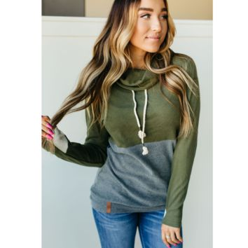 Olive and Gray Cowl Neck Sweatshirt