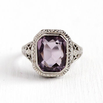 Vintage Amethyst Ring - Art Deco 14k White Gold Filigree 2.71 CT Purple Gemstone - 1920s Size 5 Fine Statement Jewelry Genuine Gem Flapper