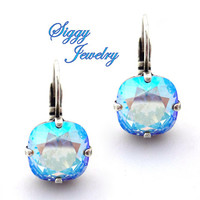 Swarovski® Crystal Earrings, Light Sapphire Shimmer, 10mm Cushion Cut, Studs or Drops, Iridescent Blue AB, Assorted Finishes, Gift Packaged