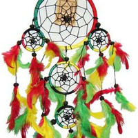 Five Rings with Feathers - Rasta - Dreamcatcher
