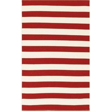 Port Cotton Red Stripe Rug