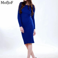 Women  long sweater dress  2016 autumn winter sexy slim Bodycon Dresses Elastic Skinny Brief Knitted  Dress vestidos
