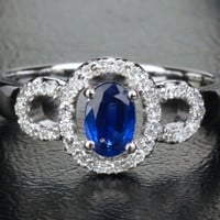 Oval Sapphire Engagement Ring Pave Diamond Wedding 14k White Gold .91ct