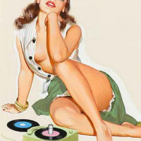 Rock and Roll Pin-up Girl Poster 11x17