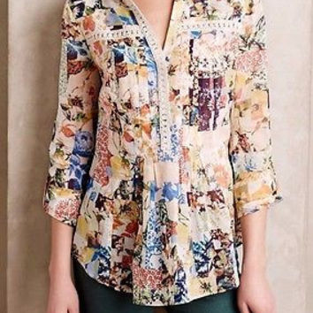 NWT Anthropologie Abella Pintuck Blouse By Maeve Sz 6
