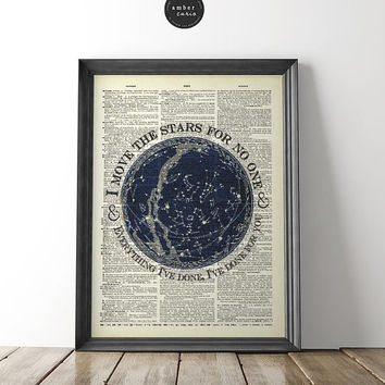 Move the Stars Quote, Labyrinth, Cult Movie Poster, Book Page Print, 1980 Fan Art, David Bowie Lyrics, Star Map, The Labyrinth Art, Unframed