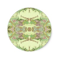 Pretty Abstract in Yellow, Lime, and Pink Classic Round Sticker