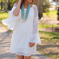 Lace Sleeves Dress, White