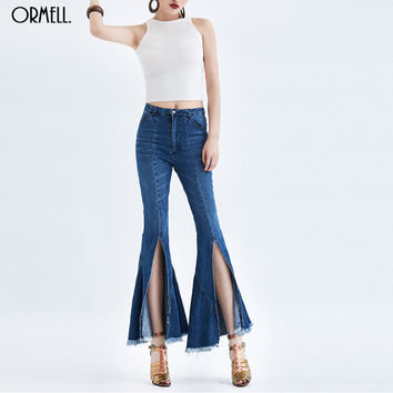 ORMELL 2016 Summer Fashion High Waist Slim Placketing Flare Pants Flash Cut Water Wash Jeans Female Denim Pants For Women