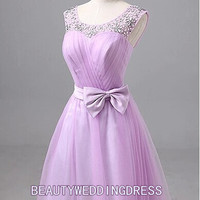Bowknot Bind Backless Rhinestone Princess Ball gown  Ruffles Beautiful Party/Bridesmaid/Fashion/Evening/Prom/Sweetheart dress