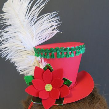 Red Holiday Fascinator Hat Headband, Festive Paper Poinsettia Flower Accessory for Christmas Party
