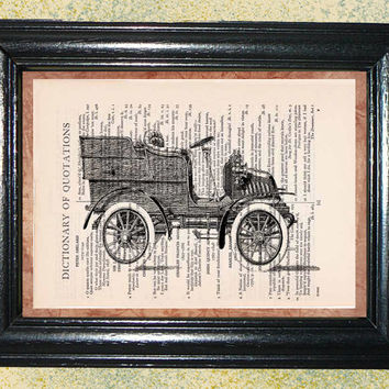 Antique Delivery Wagon Print - Vintage Dictionary Book Page Art Print Upcycled Page Art Collage Print Wall Art Print
