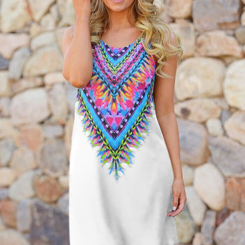 White Feather Collar Print Sleeveless Mini Dress