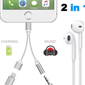2in1 Lightning To 3.5mm Headphone Jack Adapter for iPhone 7 7Plus & iPhone se 5s 6 6 Plus+Gift Box