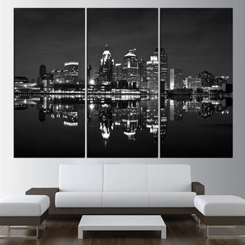 Detroit Skyline canvas wall art print, black and white extra large wall art, skyline wall art, modern wall art, detroit large art  t462