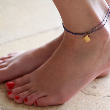 Blue Anklet - Multistrand Ankle Bracelet - Gold Anklet - Foot Jewelry - Foot Bracelet - Chain Anklet - Summer Jewelry - Beach Jewelry