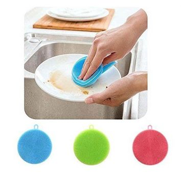 Hoard Silicone Dish Washing Sponge Kitchen Scrubber Soft Cleaning Antibacterial Brush