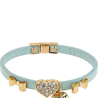 BetseyJohnson.com - BLUE ROSE GOLD HEART LEATHER BRACELET BLUE