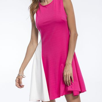 Streetstyle  Casual Charming Color Block Round Neck Sleeveless Skater Dress