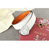 GUCCI 2018 men and women models tide brand high quality heart-shaped double G belt F-APDPF White