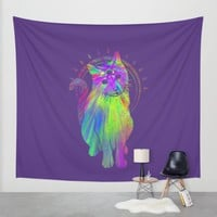 Psychedelic Psychic Cat Wall Tapestry by Jonah Makes Artstuff