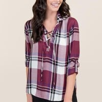 Pixie Wine Plaid Lace Up Top