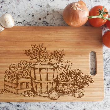 ikb300 Personalized Cutting Board Wood basket vegetable food restaurant kitchen
