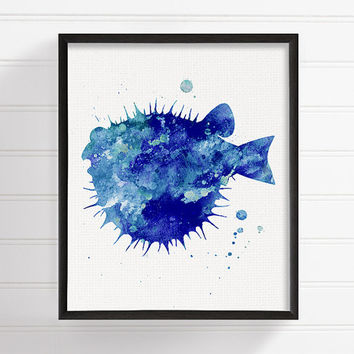Blow Fish Art Print, Watercolor Fish, Bathroom Decor, Coastal Wall Art, Sea Life Art, Ocean Art, Fish Painting, Nautical Wall Art, Nursery