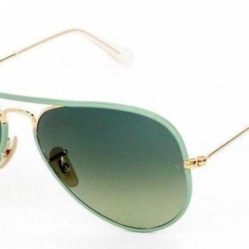 Kalete New Ray Ban Aviator Full Color Green Gold Green Sunglasses RB3025JM 001/3M 58