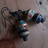 Tribal Black, Ethnic Bead, Dangle Earrings, Black Bone, Brass, Coral. Turquoise, Tibet, Boho, Gypsy