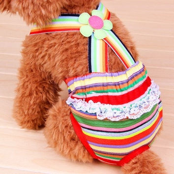 Pet physiological pants Rainbow dog physiological pants Cotton breathable Pet clothes Pet underwear #apowu522# = 1929598660