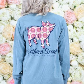 Bohemian Pig Long Sleeve Tee {Ice Blue}