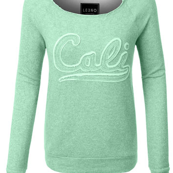 LE3NO Womens Vintage Terry Cloth Cali Print Boat Neck Raglan Pullover Sweater