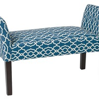 AVE SIX Kelsey Bench with Espresso Finish Solid Tapered Wood Legs, Abby Geo Grey Fabric