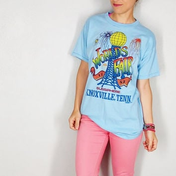 Vintage World Fair 1982 Baby Blue Tshirt