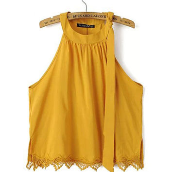 Yellow Halter Tie Lace Trim Crop Top