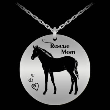 Horse Rescue Mom   Horse Pendant   Gift for Mom   Birthday Gift   Horse Jewelry   18k Gold-plated Pendant Chain Necklace   Laser Engraved