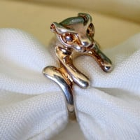 Vintage Sterling 925 Cat Animal Ring