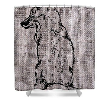 Fox On Burlap  - Shower Curtain