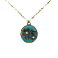 Eye of Ra necklace / Eye of Horus jewelry / egyptian jewelry / Turquoise necklace / brass jewelry / eye of ra jewelry / Morhers Day necklace