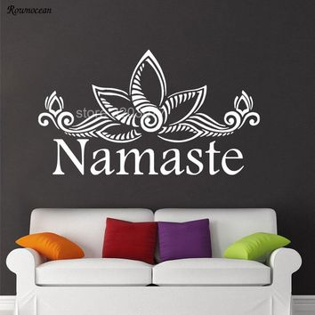 Namaste Vinyl Wall Decal Sticker Lotus Pattern Flower Home Decor For Living Room