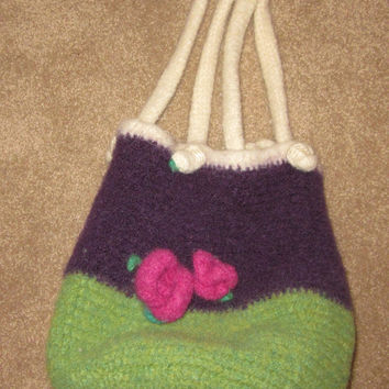 Handmade Crochet Felt Bucket Bag in Purple,Green,Fuscia and Cream with Flowers