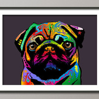 Pug Dog Pop Art Print 18x24 inch on Etsy