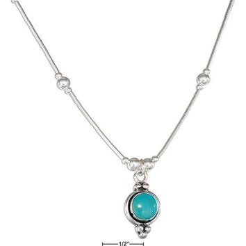 """Sterling Silver 16"""" Round Simulated Turquoise Concho Liquid Silver Necklace"""