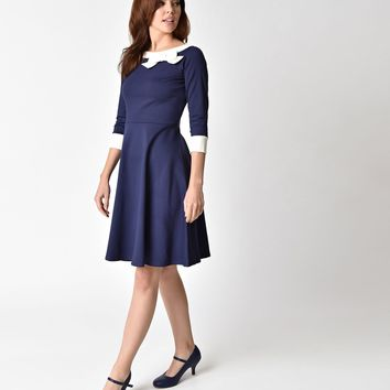 Steady 1950s Style Navy Sleeved Dreamboat Dolly Swing Dress