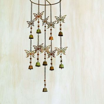 Hanging Butterflies with Bells Mobile Wind Chime