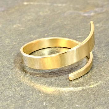 Solid 14K Yellow Gold Dainty Bypass Ring