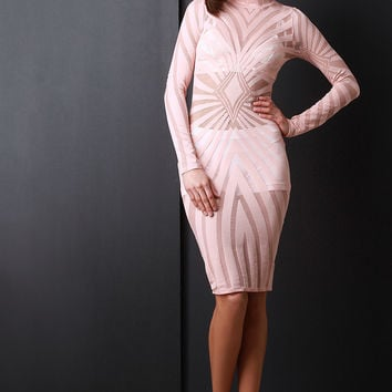 Radial Mesh Mock Neck Midi Dress