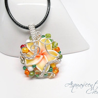 OOAK wire wrapped necklace, yellow Fimo flower beaded pendant, spring necklace, orange yellow green necklace, unique necklace for women