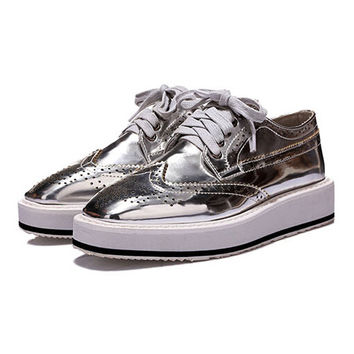 Silver Punch Hole Lace Up Flatform Shoes